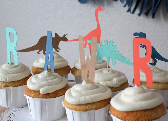 Custom Dino and RAWR Cupcake Toppers
