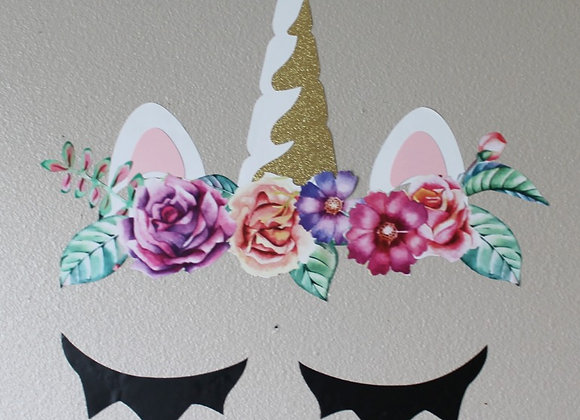 Unicorn Floral Decal Set
