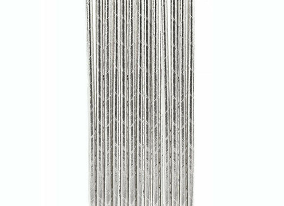 Metallic Silver Straws