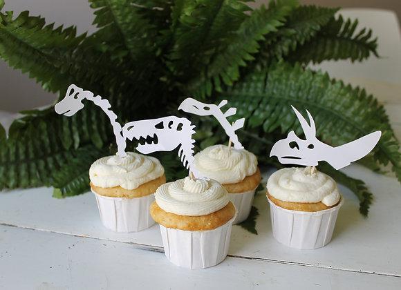 Dinosaur Skeleton Cupcake Toppers