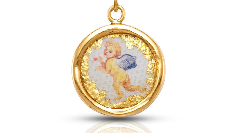 18k Yellow Gold Miniature Signature Cherub Pendant