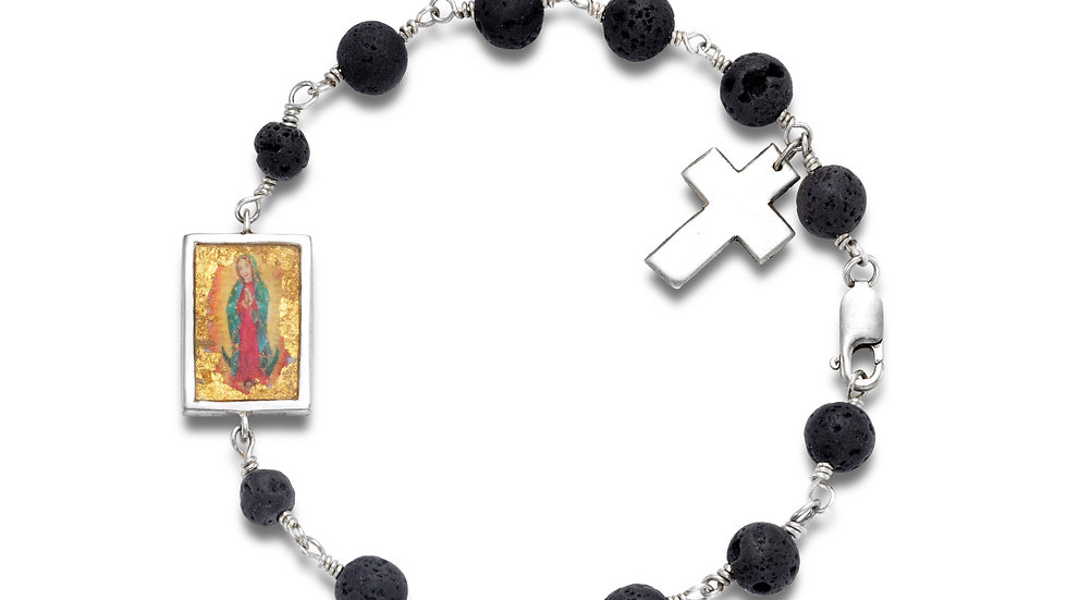 Men's Sterling Silver Lava Bracelet with Large Pendant and Cross