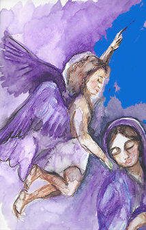 Angel and Mary artwork, Artistic Rosary Designs