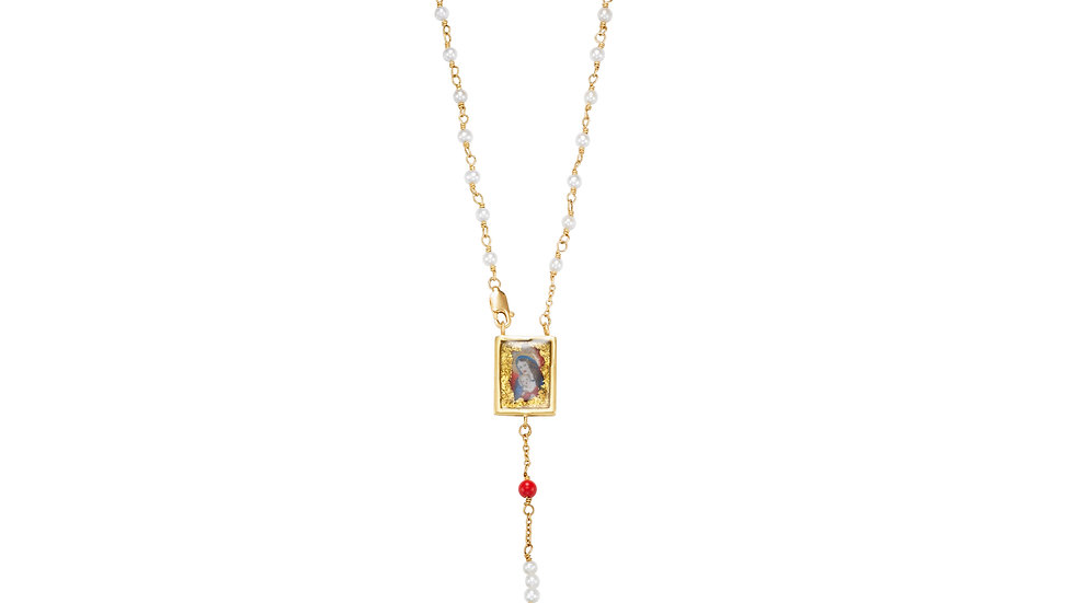 Small Pendant 18K Rosary Bead Necklace