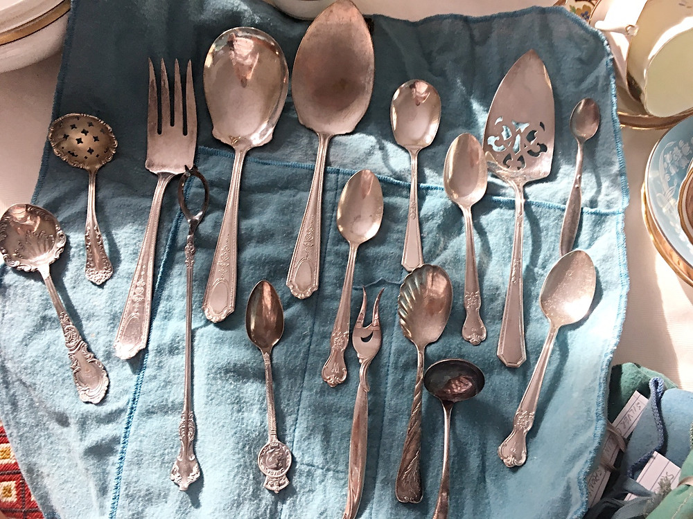 Sterling Silver Flatware Collection Organized