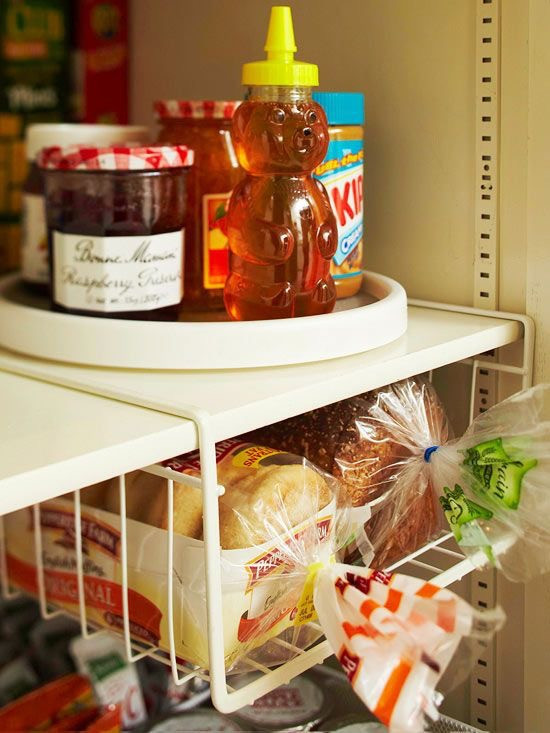 organize pantry with lazy susan turntables