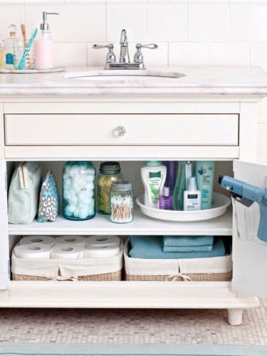 organize bathroom essentials with lazy susan turntables