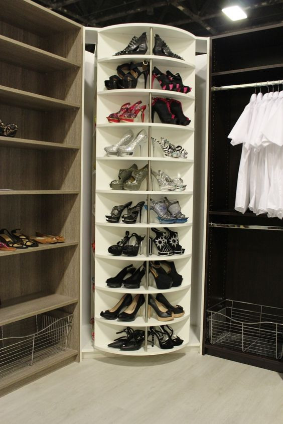 organize shoes with lazy susan turntable