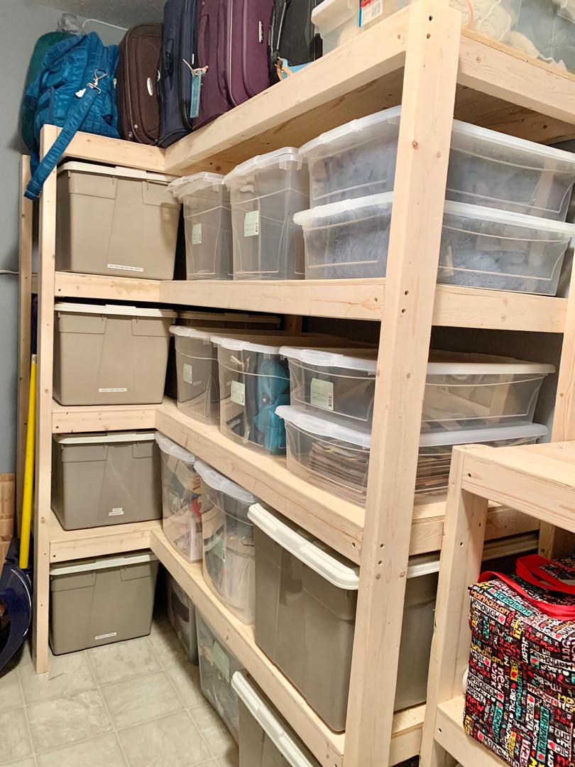 Custom storage room shelving