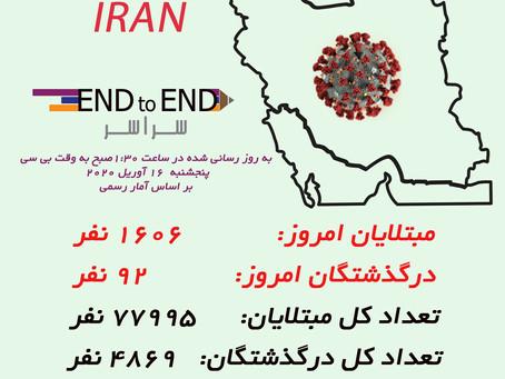 کرونا در ایران ۱۶ آوریل، ۲۸ فروردین ۱۳۹۹