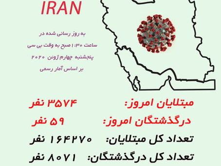 کرونا در ایران  ۴ ژوئن ،  ۱۵ خرداد