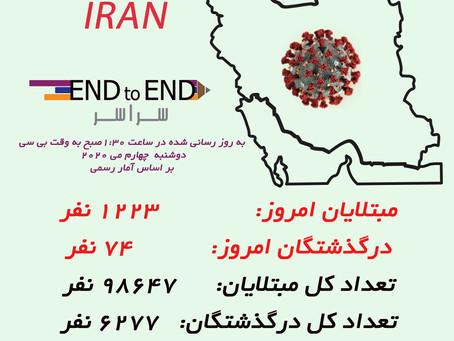 کرونا در ایران چهارم می، ۱۵ اردیبهشت