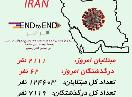 کرونا در ایران سه شنبه ۱۹ می، ۳۰ اردیبهشت