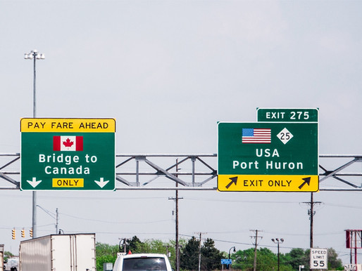 Crossing The Border & Drive Through Canada Land Borders