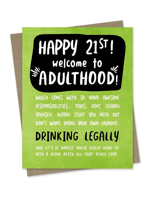 Welcome to Adulthood 21st Birthday