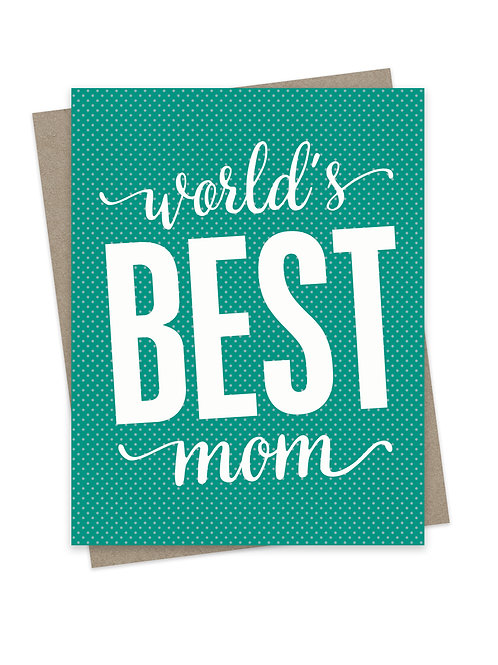 World's Best Mom Teal Dots