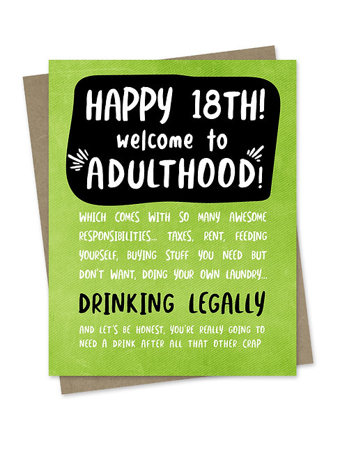Welcome to Adulthood 18th Birthday