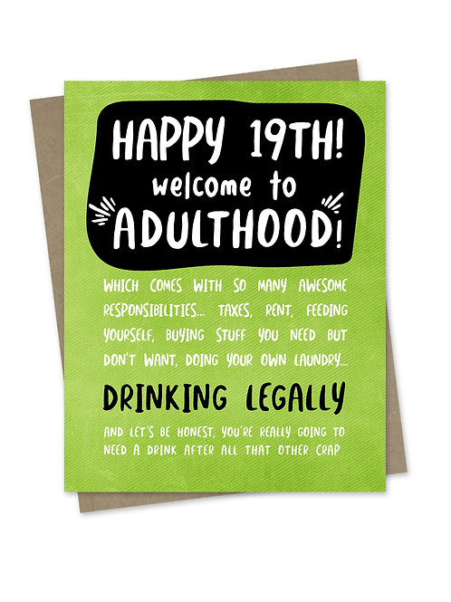 Welcome to Adulthood 19th Birthday