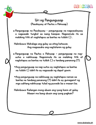 Pasalaysay at pautos o pakiusap na pangungusap, pasalaysay, pautos, pangungusap na Patanong, pangungusap na padamdam, padamdam, pananong, patanong, free filipino worksheets, free filipino grade 2 worksheets, grade 2 Filipino, pangungusap, uri ng pangungusap, samutsamot, teacherabiworksheets, pdffiler, mafiadoc, schoolkid