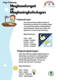 Mga Salitang Magkasalungat at Magkasingkahulugan