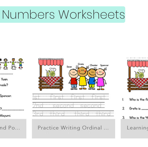 New Math Worksheets -Ordinal Numbers and Skip Counting