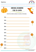 Ordinal Numbers 11th to 20th