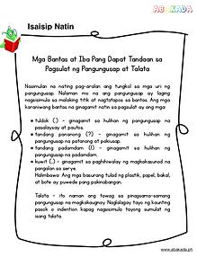 Mga Bantas at Iba Pang Dapat Tandaan sa Pagsulat ng Pangungusap at Talata