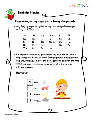 Alphabetize words in Filipino lessons and worksheets, samut-samut, homeschool, filipino worksheets, Grade 1 Filipino, abakada.ph, learnykids