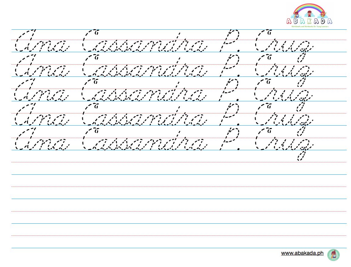 Personalized Handwriting Sheets Cursive Abakada Ph