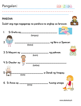 Pandiwa Worksheet