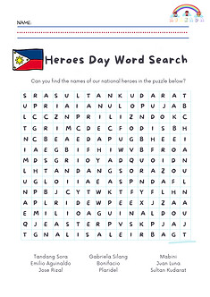 Find the Philippines' recognized National Heroes in this puzzle.
