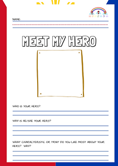 Have your little learner write paste or draw a picture of his/her hero. It can be anyone who he/she likes. Have them write down a sentence or two to tell what values they like most or the traits they admire about their hero.