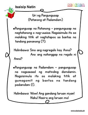 Pangungusap na Patanong, Pasalaysay at Pautos o Pakiusap, pangungusap na padamdam, padamdam, pananong, patanong, free filipino worksheets, free filipino grade 2 worksheets, grade 2 Filipino, pangungusap, uri ng pangungusap, samutsamot, teacherabiworksheets, pdffiler, mafiadoc, schoolkid