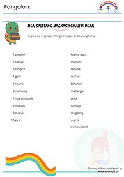 Magkasingkahulugan Worksheet 2