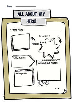 Draw or use word art, fill in the spaces about the details of their favorite national hero.