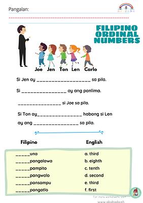 Filipino Ordinal Numbers