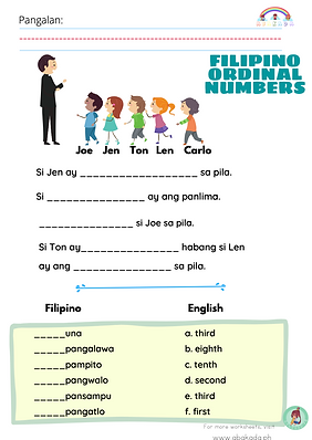 Filipino Ordinal Numbers