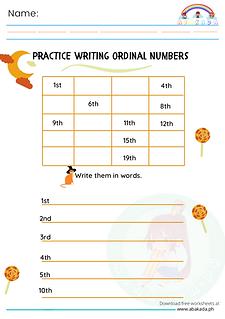 Practice Writing Ordinal Numbers