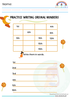 Practice Writing Ordinal Numbers