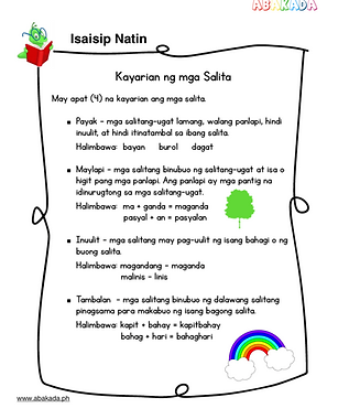 Kayarian ng mga salita free worksheets. Aralin ang kayarian ng mga salita  at ang kanilang kahulugan. Alamin and 4 na kayarian ng mga salita. Free Filipino Grade 1 worksheets- pdf download.