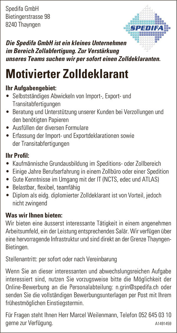 Stelleninserat Zolldeklarant Anzeige-1.j