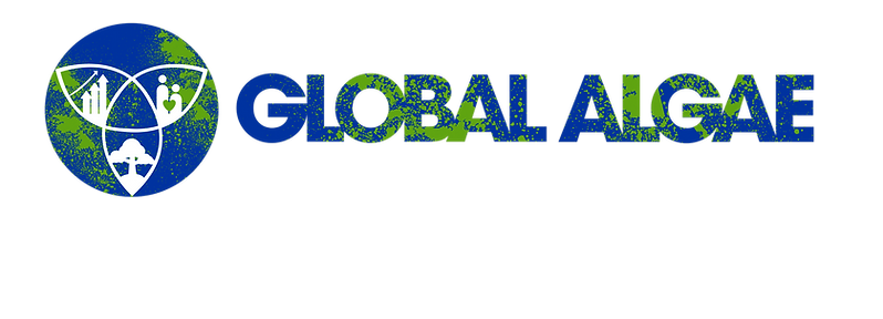 Global Algae logo: Change the world to improve the economy, environment, & quality of life for all people