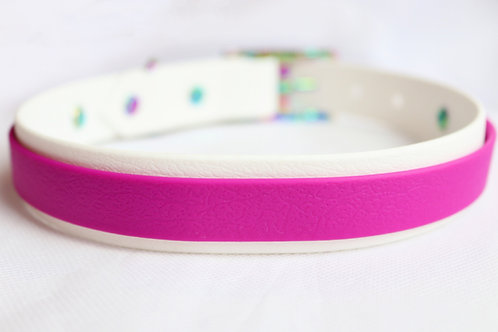 Pink Shimmer Striped Collar