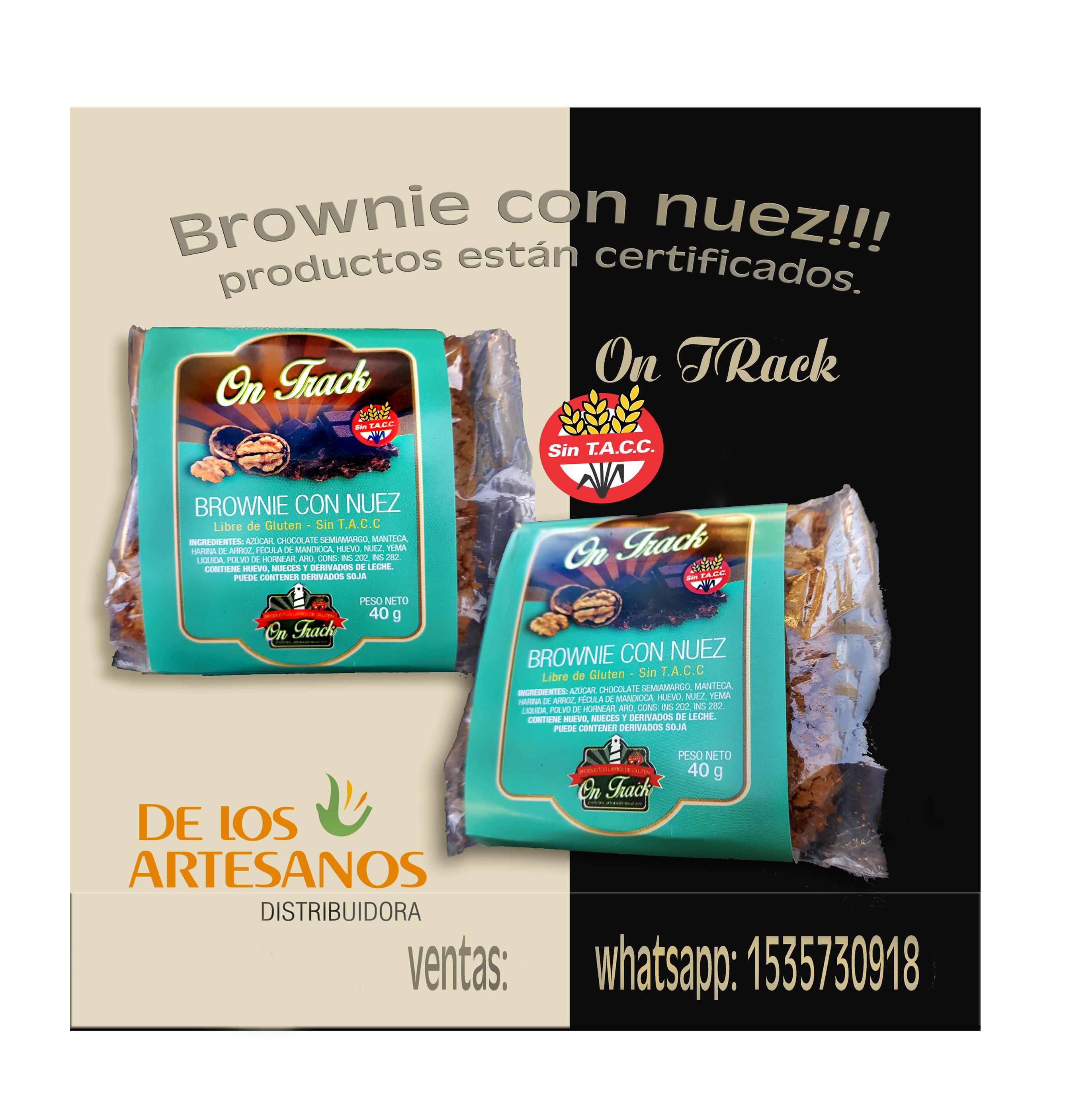 ✅Libres de gluten ON TRACK BROWNIE LIBRES DE GLUTEN, APTO CELIACOS, SIN TACC