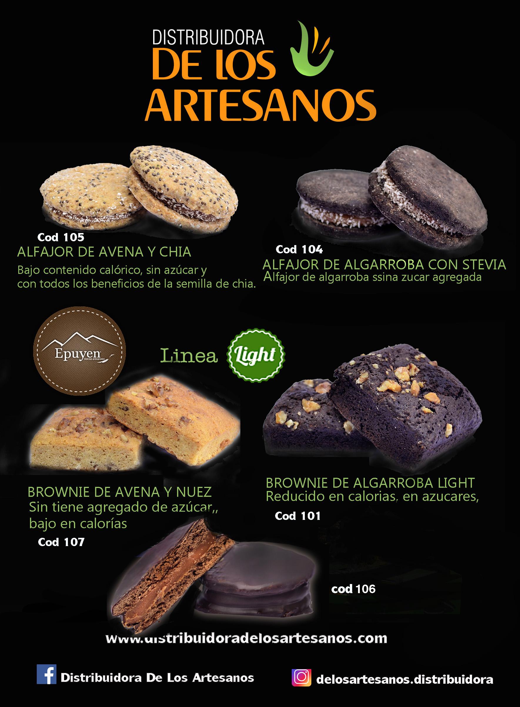 alfajores AVENA Y CHIA - ALFAJOOR ALGARROBA LIGHTy brownie epuyen light, bajos en calorias
