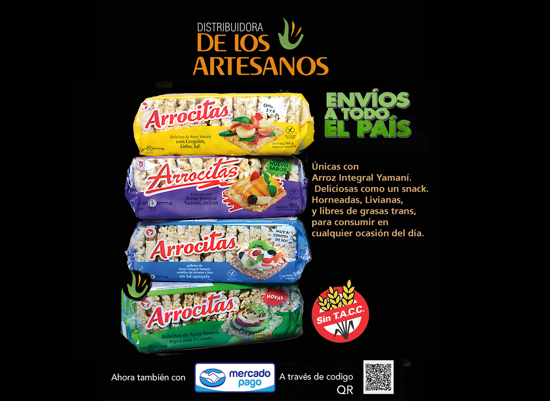 ARROCITAS, GALLETAS DE ARROZ INTEGRAL YAMANI SIN TACC