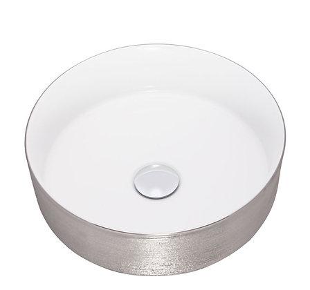 Lavamanos redondo blanco y plata