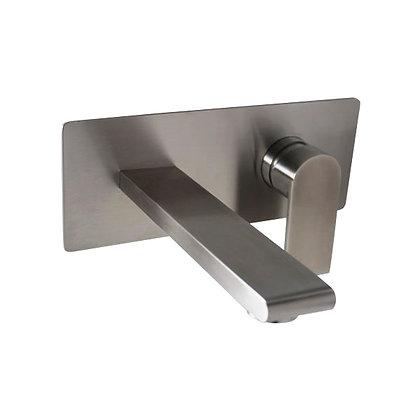 Cuadrado grifo pared monocontrol en acero.