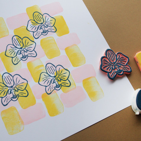 rubber stamp printed card