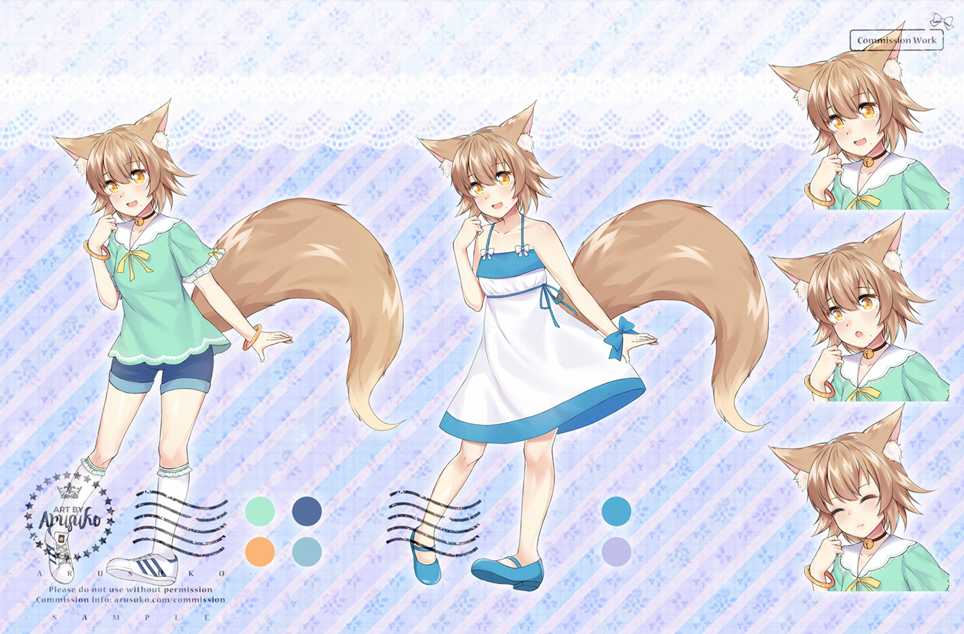Kitsune Character design with two outfits